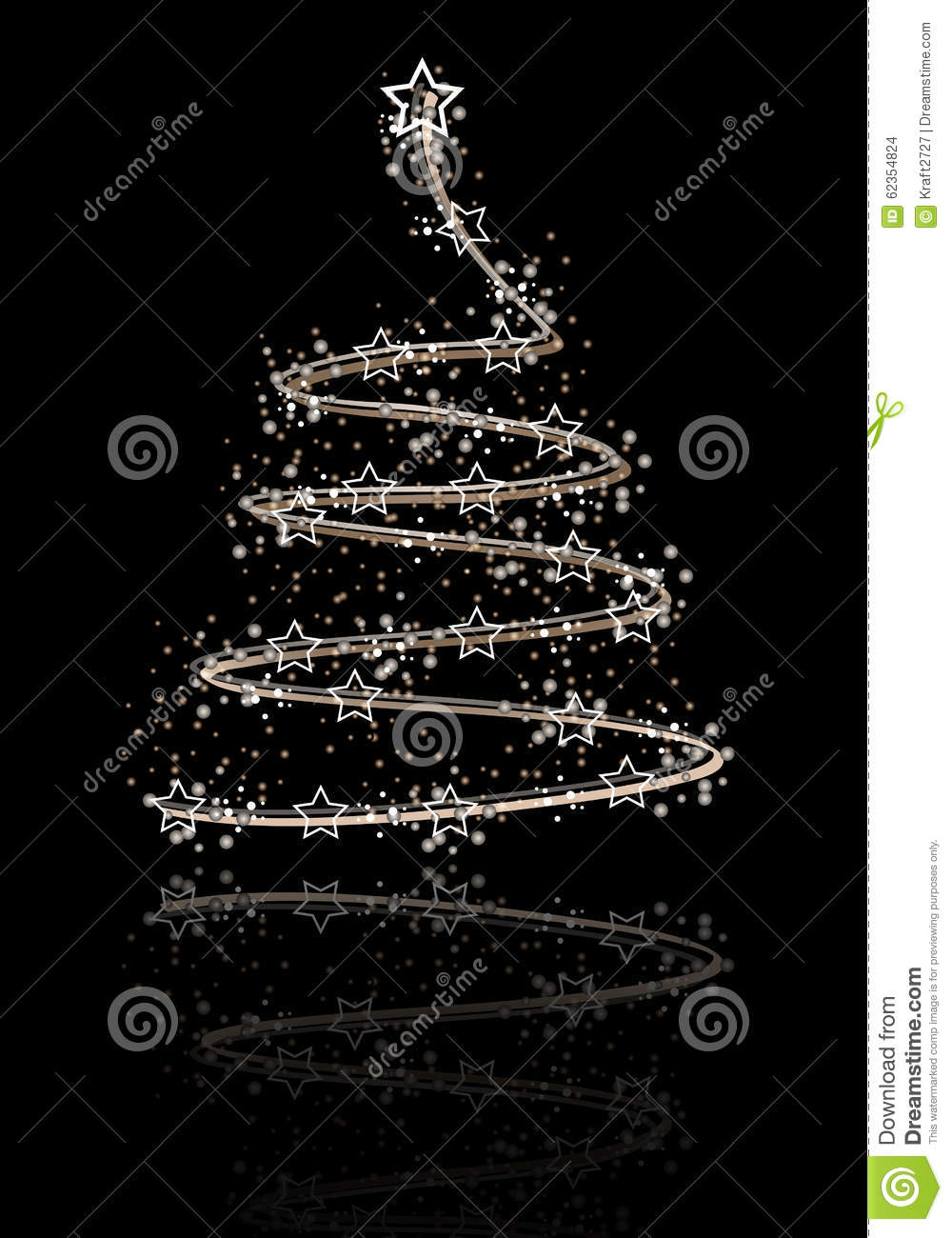 the silver abstract christmas tree on the black background stock