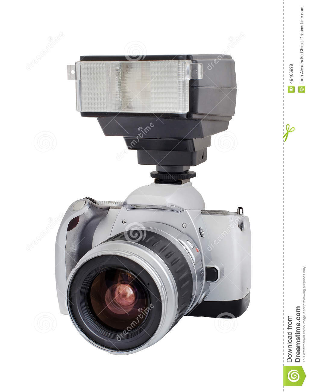 Silver analog camera with lens and flash isolated on a white background