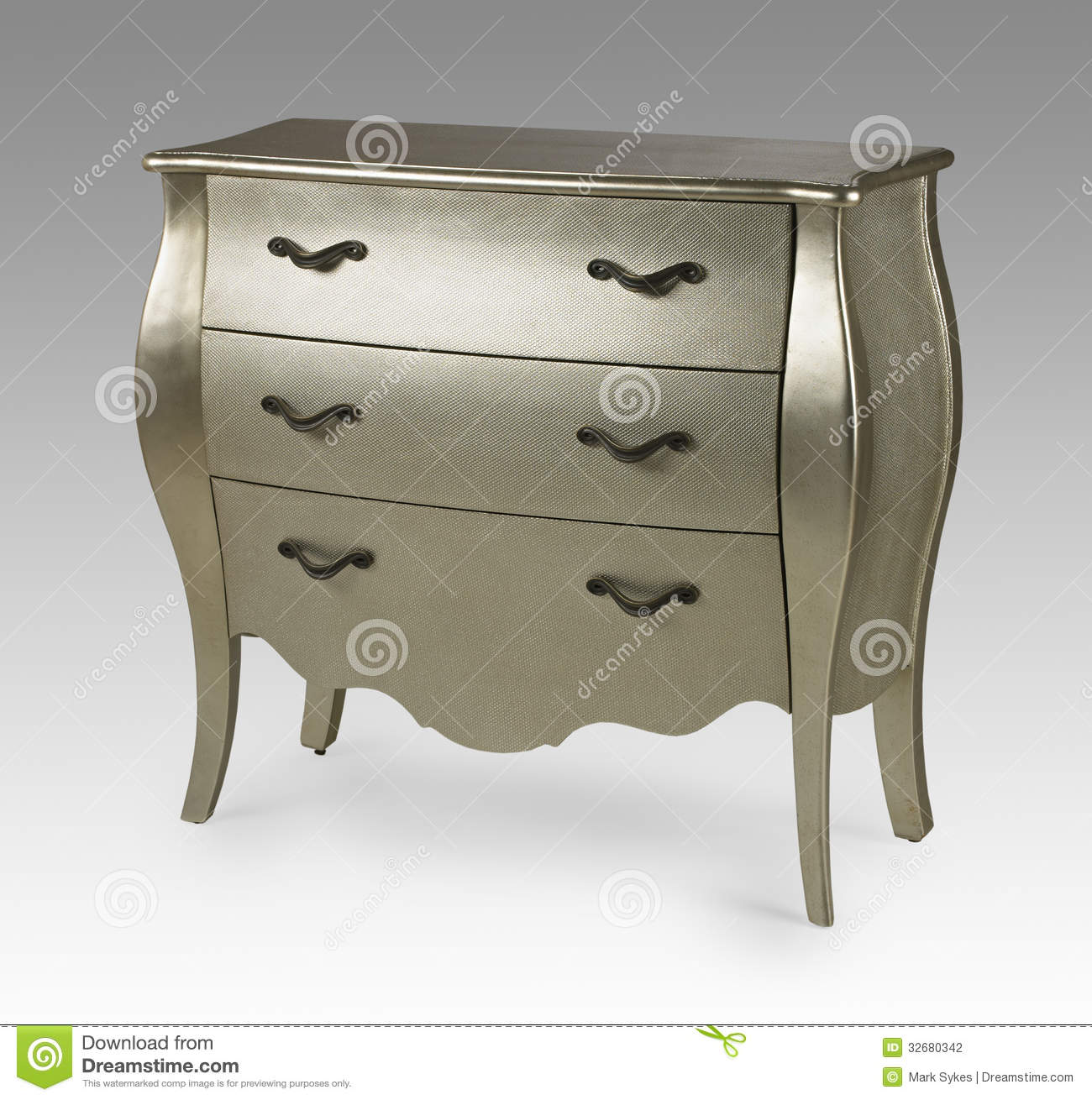 Silver Antique Ornate Chest Of Drawers Stock Photo Image Of Cabinet Drawers 32680342