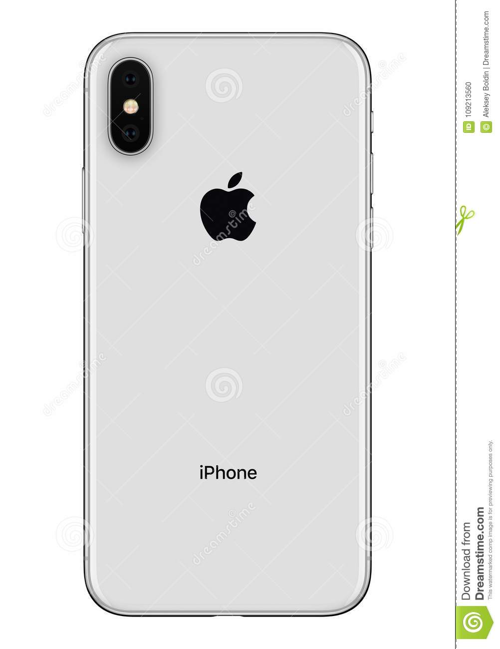 Silver Apple Iphone X Back Side Front View Isolated On White