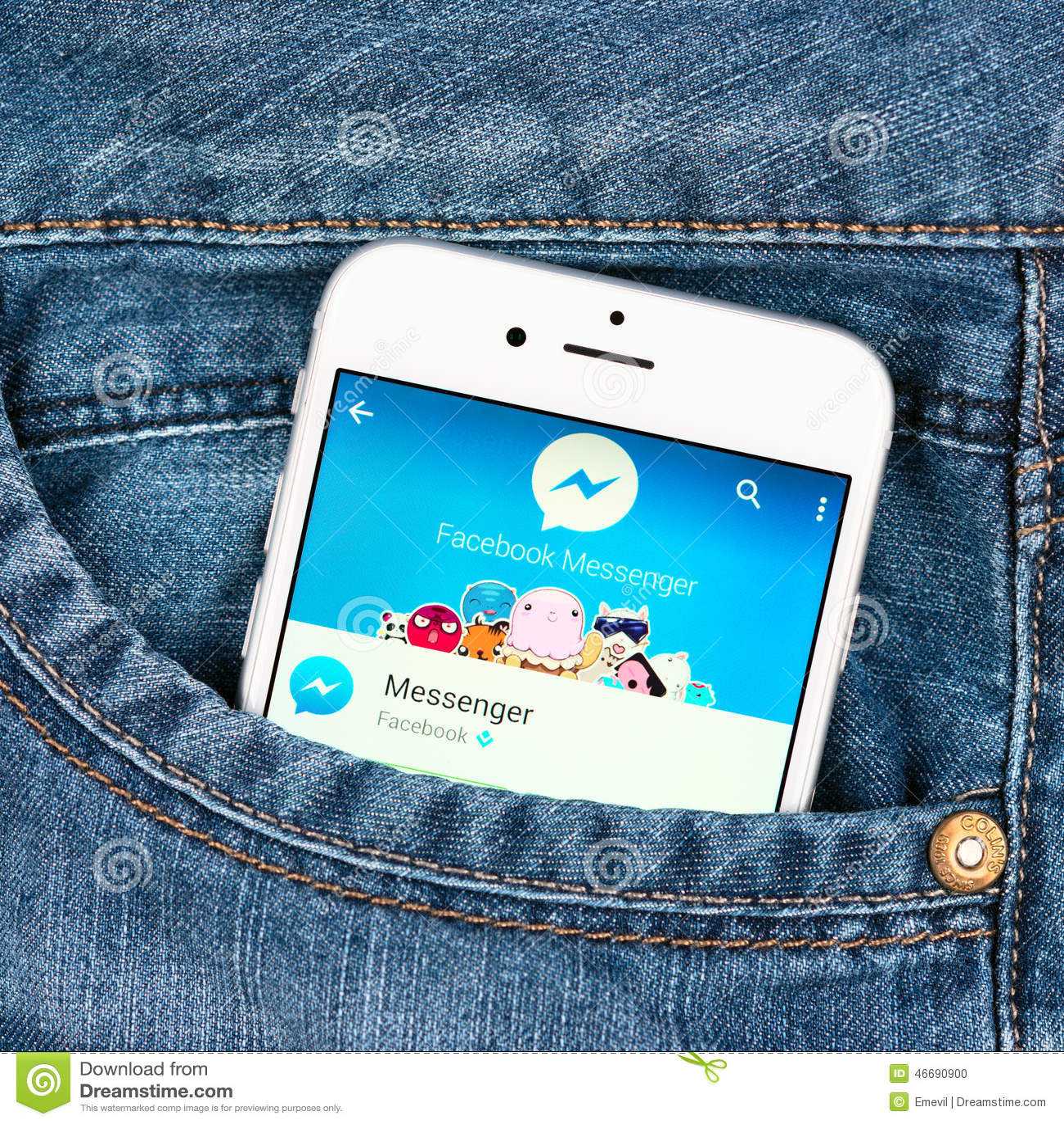 Silver Apple Iphone 6 Displaying Facebook Messenger