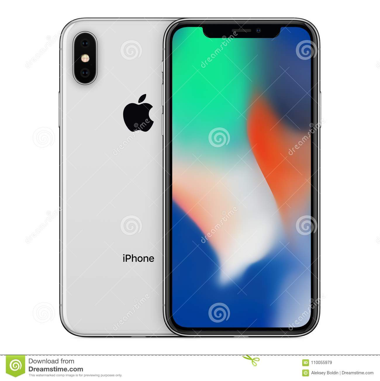 Silver Apple iPhone X mockup front view with wallpaper screen and iPhone 10 back side behind. Download preview