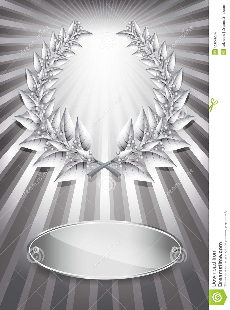 silver award laurel wreath and label stock images