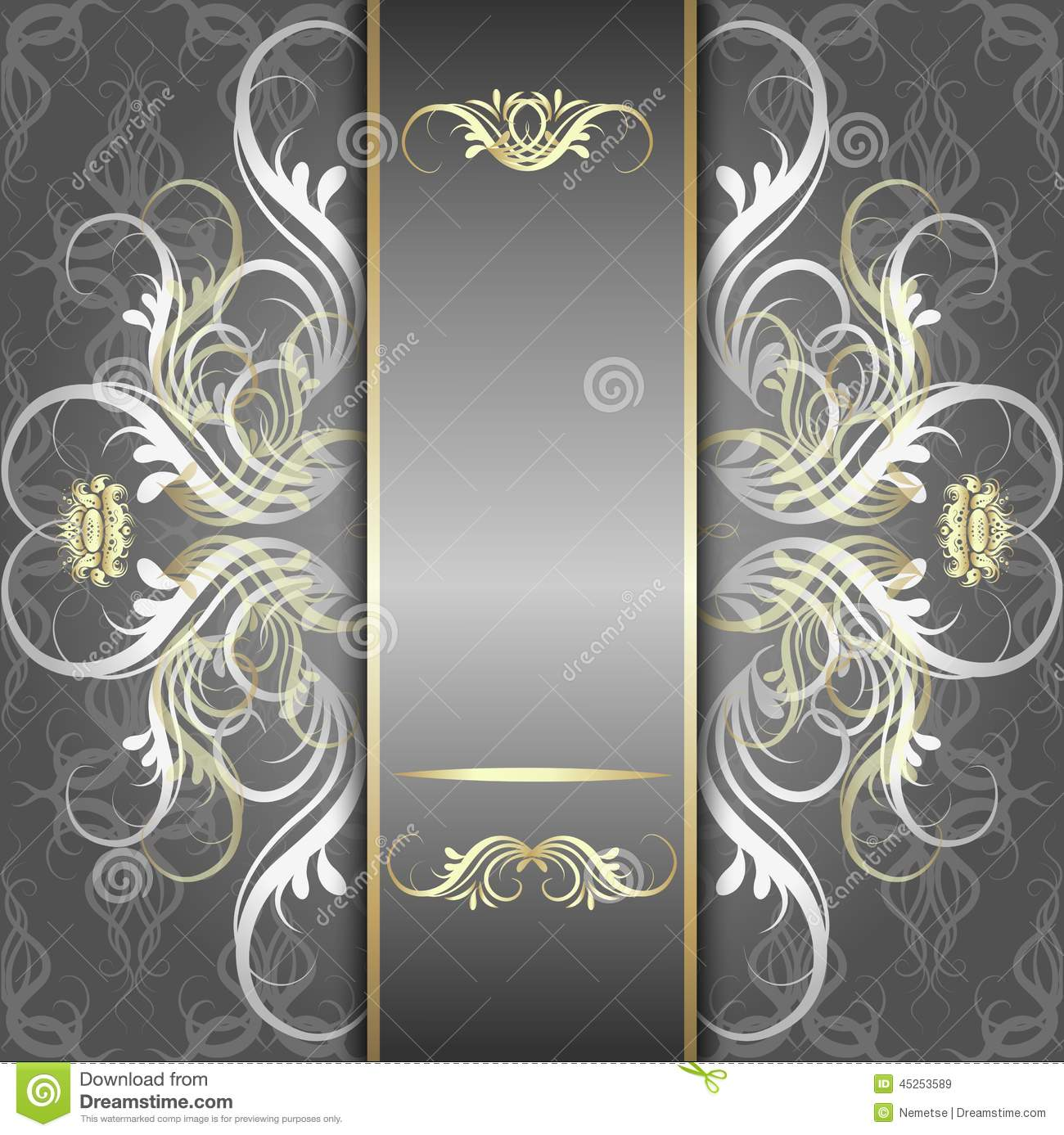 Silver Background With Elegant Pattern Stock Vector