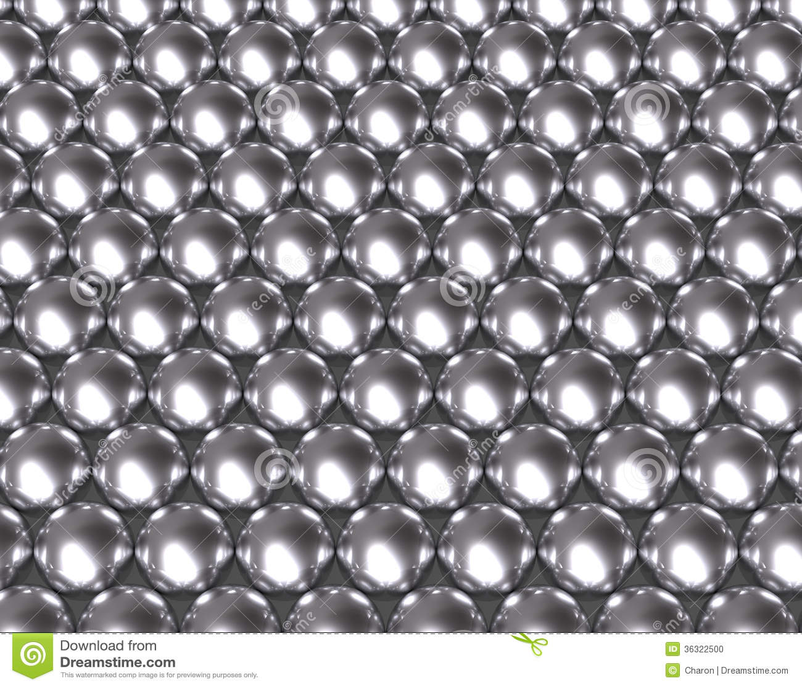 Silver Balls Pattern Reflective Texture Stock Photo