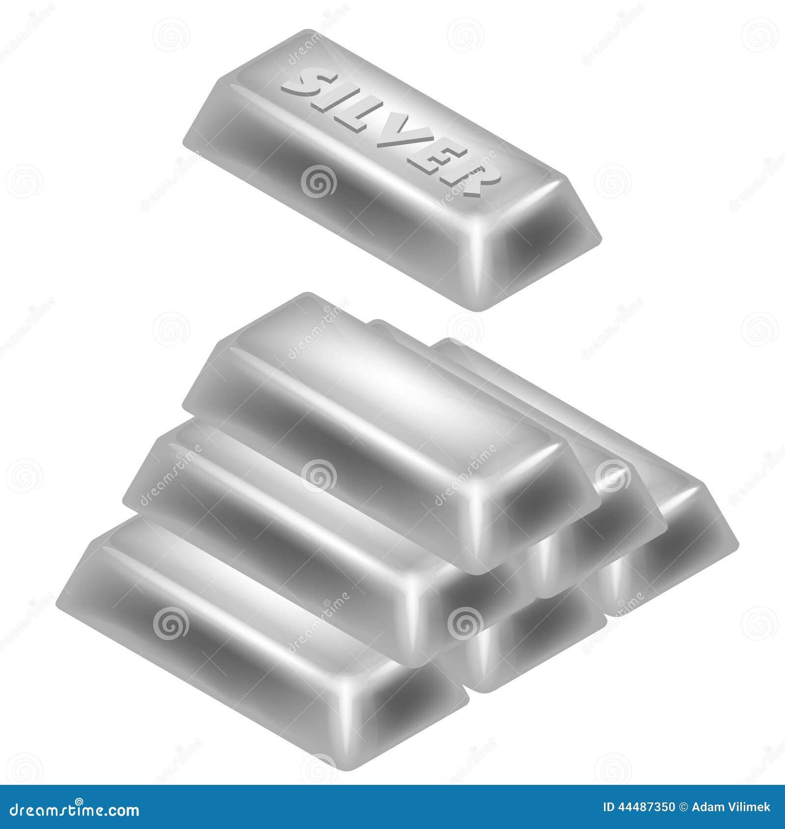 Silver Bar Pyramid 3D Design Isolated Stock Illustration ...