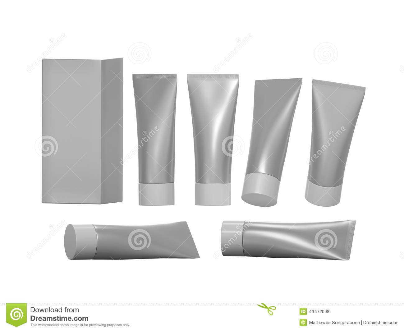 Silver beauty hygiene tube with clipping path