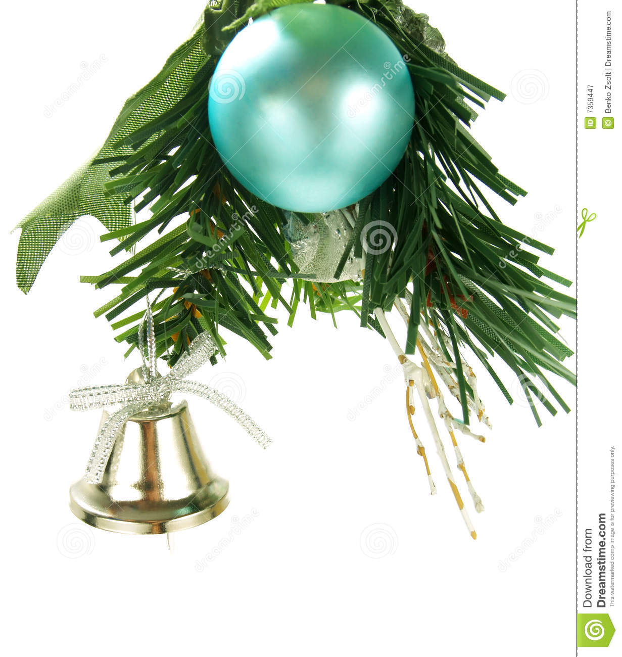 Silver Bell Cyan Bauble Hanging On Christmas Tree Stock