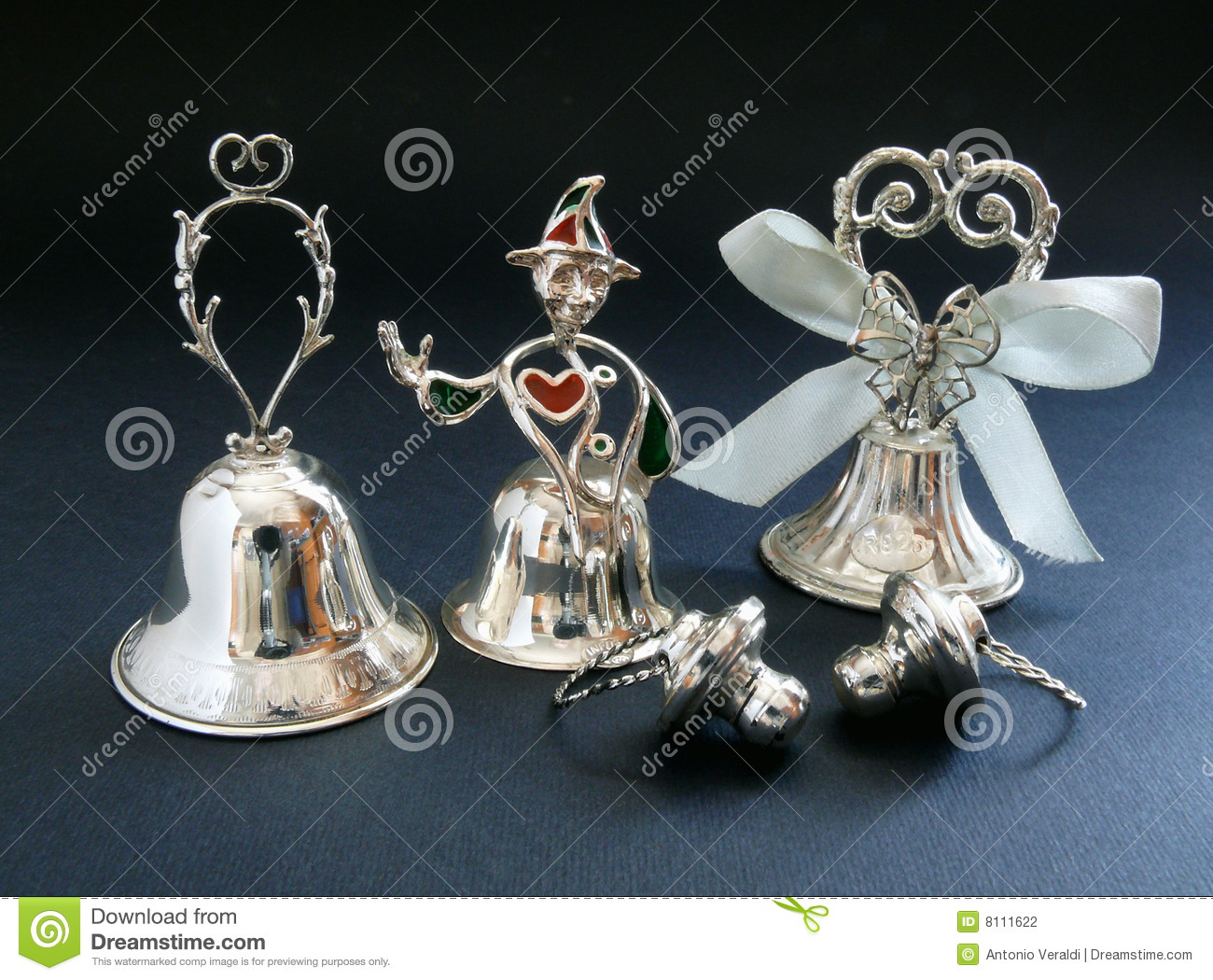 Silver Wedding Bells Royalty-Free Stock Photography