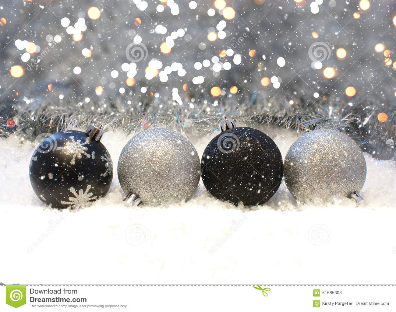 Silver and black christmas decorations stock photo image - Black and silver christmas ...