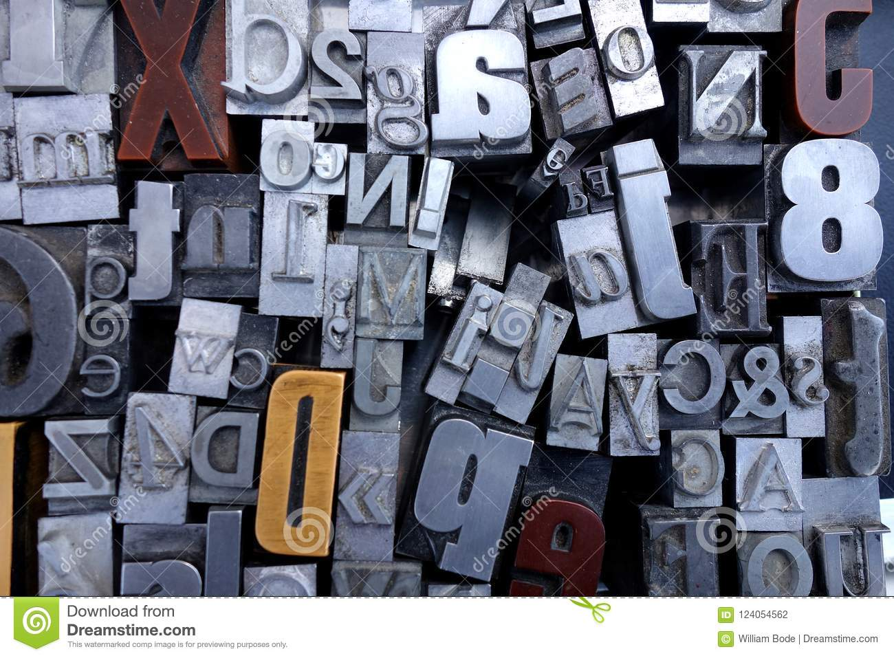 picture regarding Printable Letters and Numbers referred to as Outdated Metallic And Picket Printing Force Letters Inventory Photograph