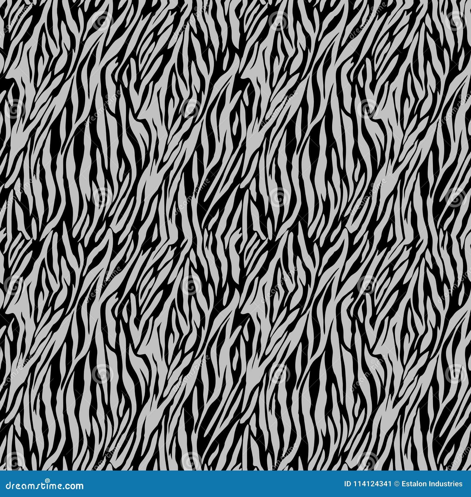 Silver on black zebra stripe print seamless repeat pattern background