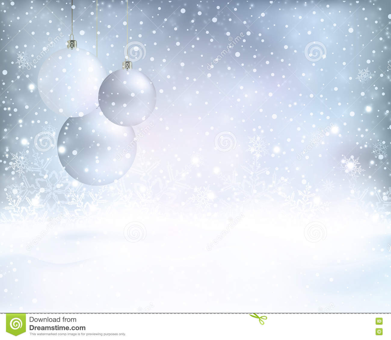 Silver Blue Christmas Background With Baubles And Snowfall ...