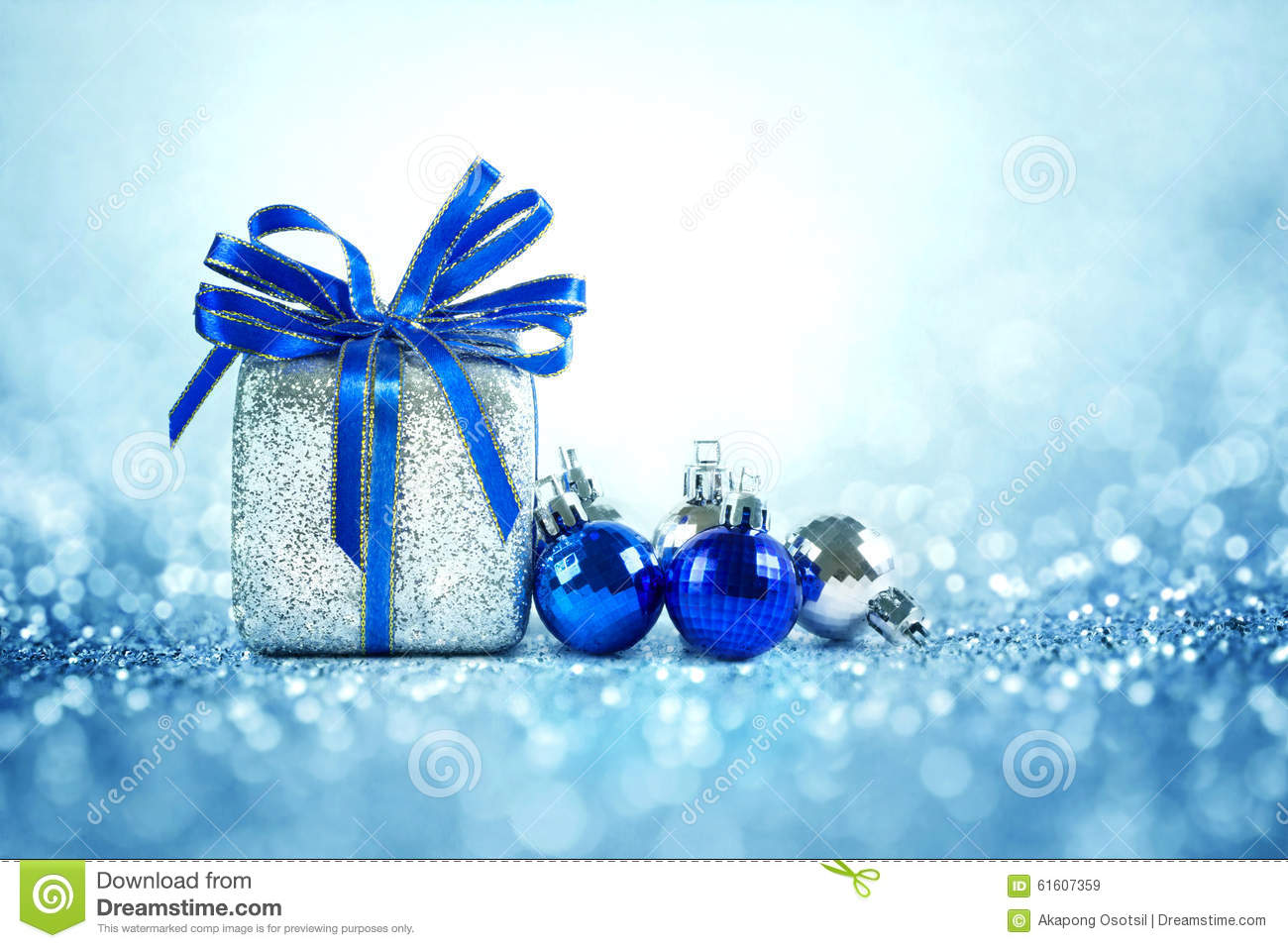 Silver And Blue Christmas Balls And Gifts On Cool Glitter