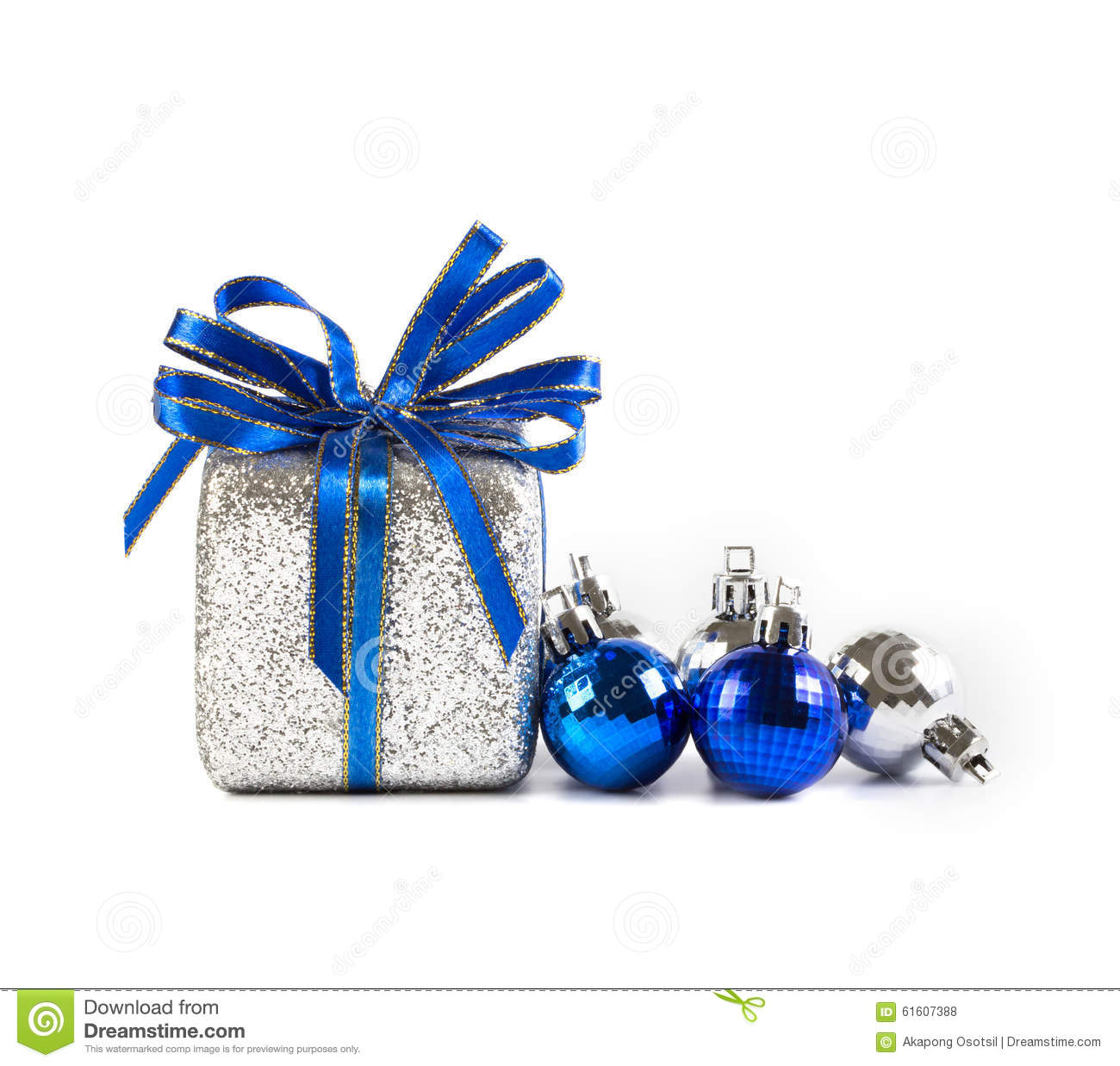 Silver and blue Christmas balls and gifts on white background