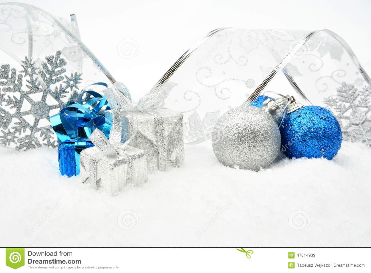 Silver,blue christmas baubles,gifts,snowflake with silver ribbon