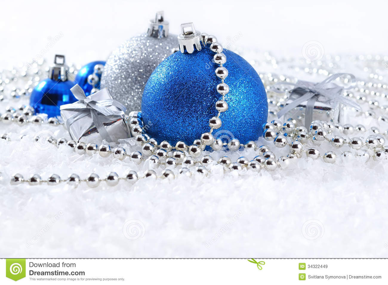 silver blue christmas decorations white background 34322449 - Blue And White Christmas Decorations