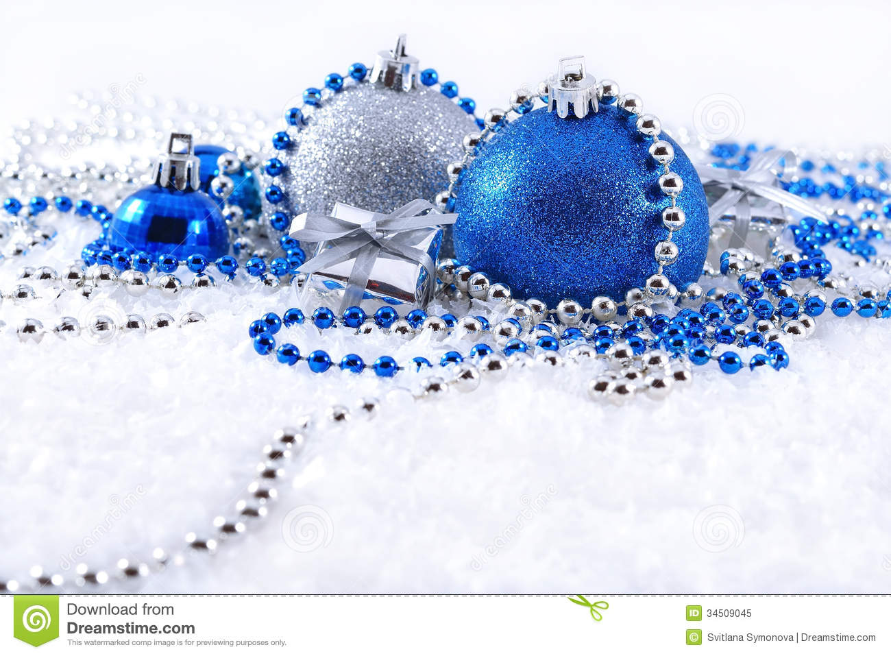 Silver Blue Christmas Decorations White Background