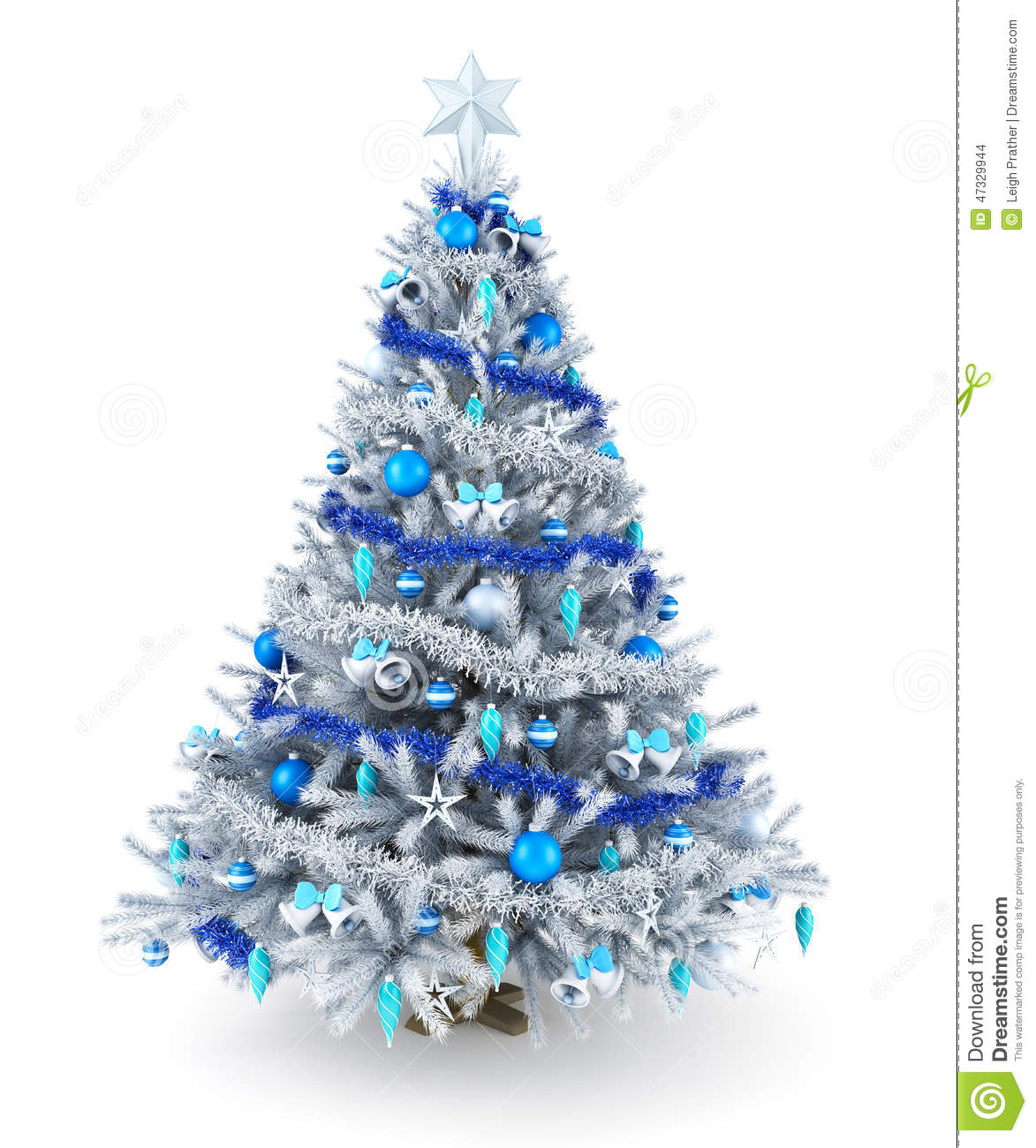 Silver and blue christmas tree stock illustration image
