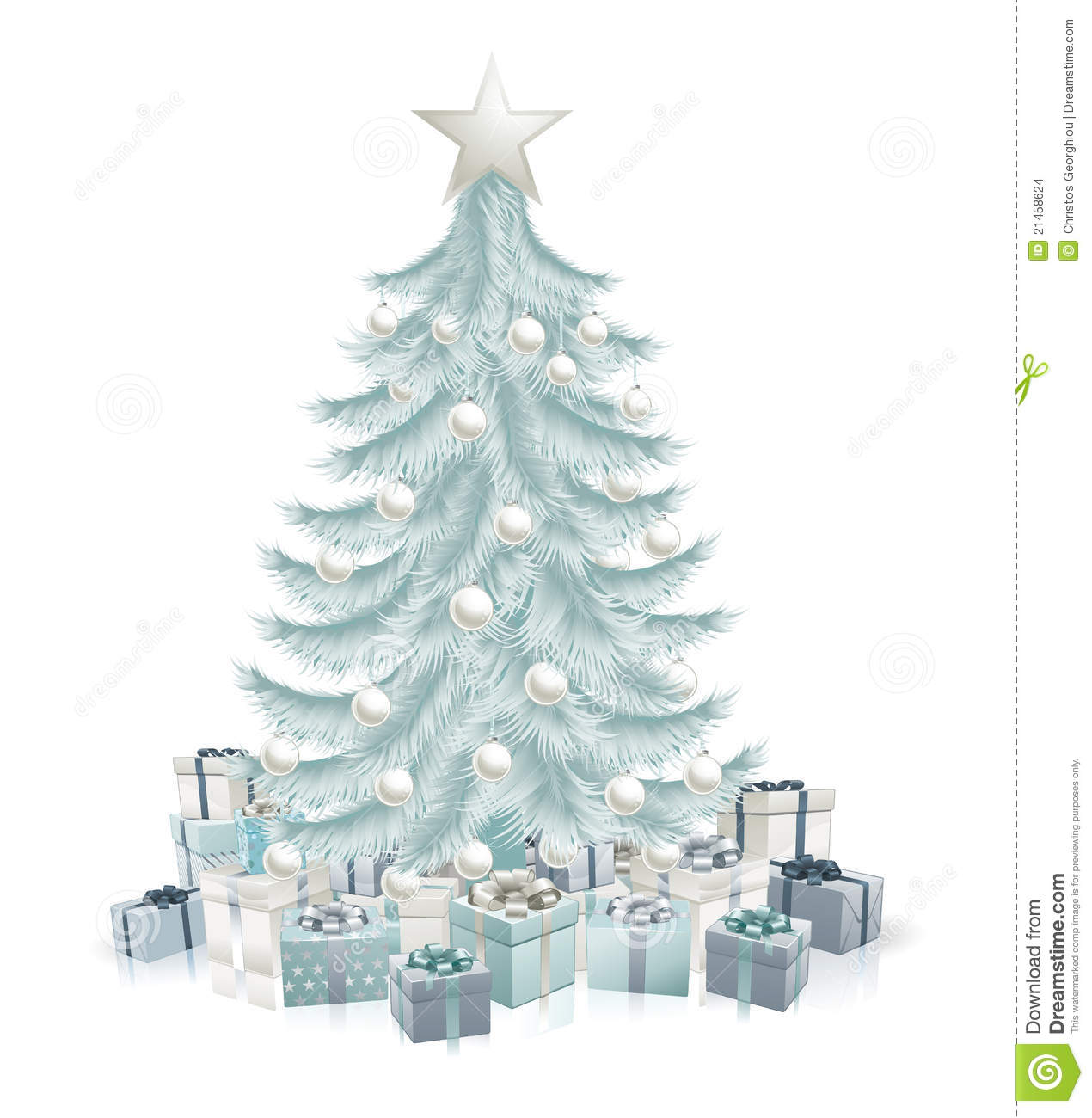 Silver Blue Christmas Tree And Gifts Stock Vector Image