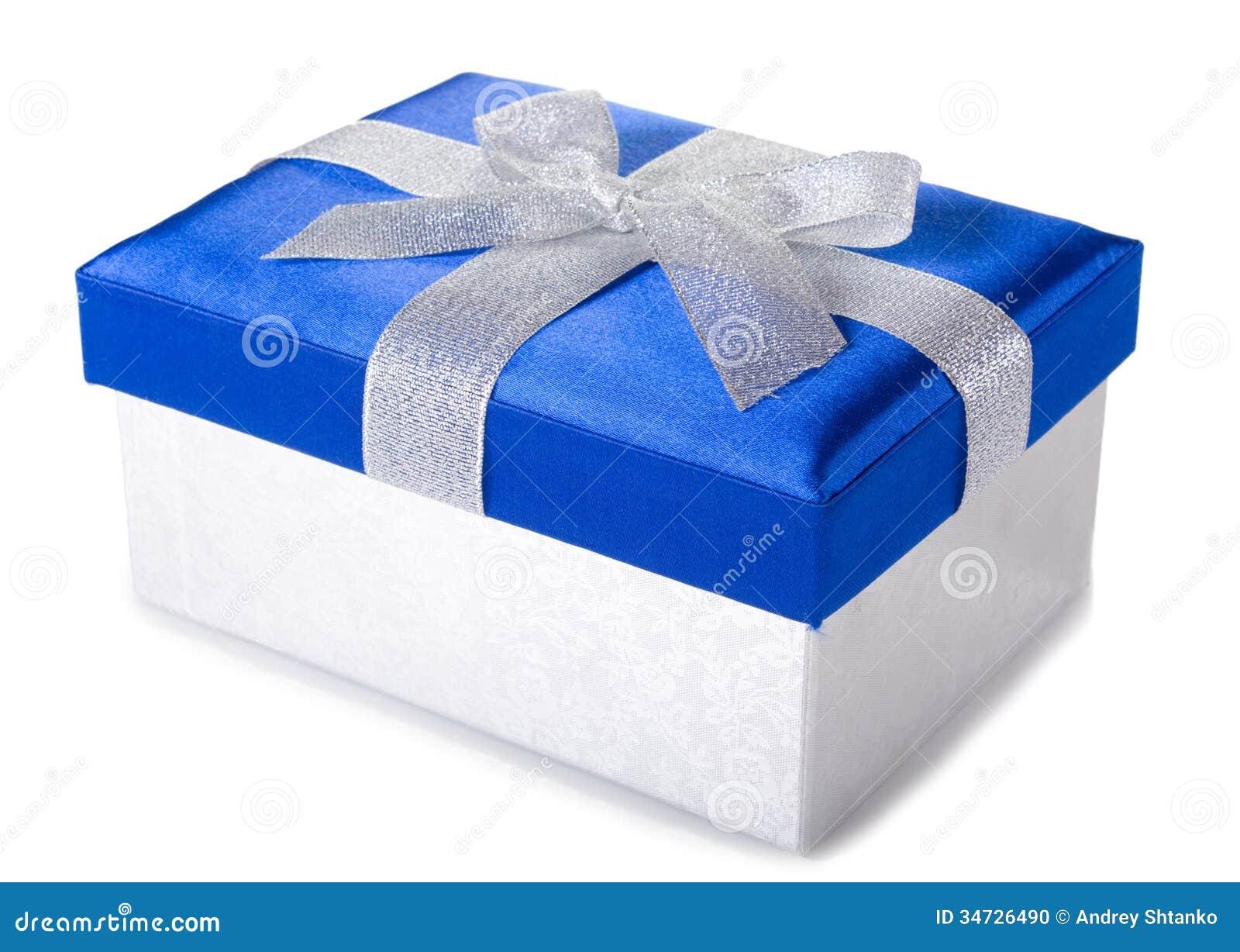 Silver blue gift box stock photo image