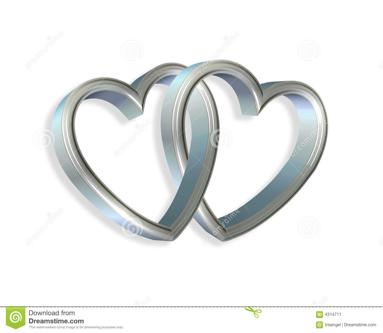 Silver Blue Hearts Linked 3D Stock Image - Image: 4314711