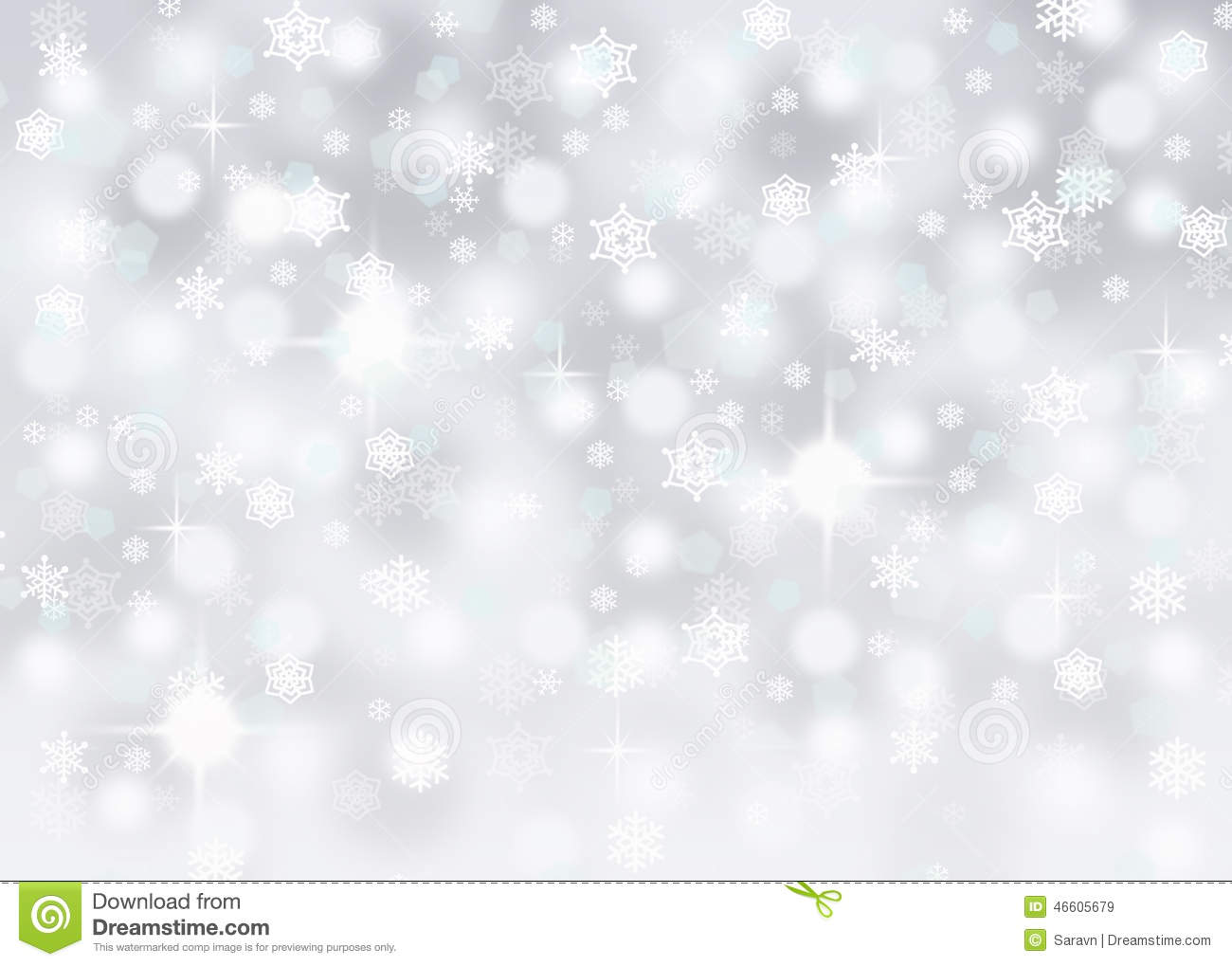 Silver bokeh abstract background with falling snowflakes and sparkles