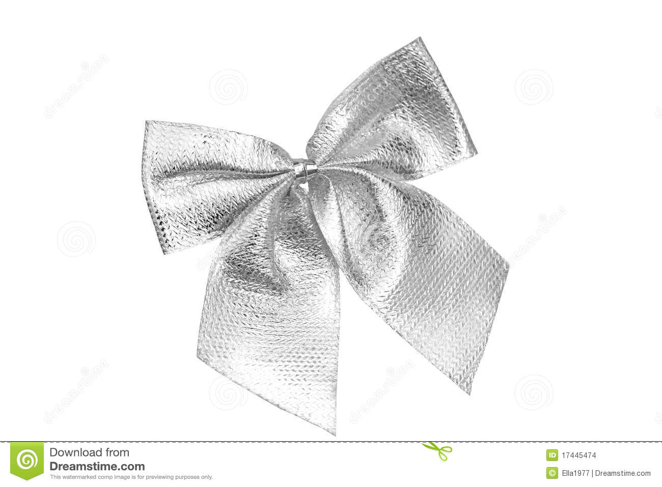 Silver Bow stock photo. Image of macro, festive, packaging ...  Silver Bow stoc...