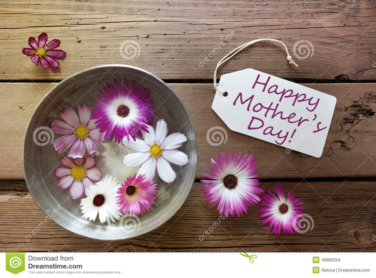 Silver Bowl With Cosmea Blossoms With Text Happy Mothers Day