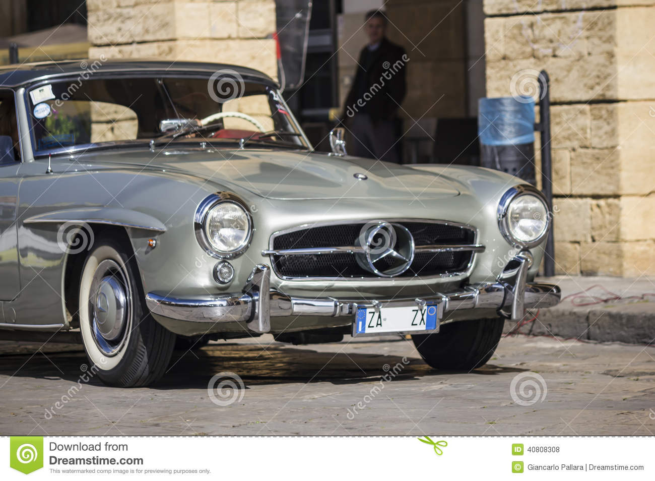 A silver 1955 built mercedes benz on the road editorial for Where mercedes benz cars are made