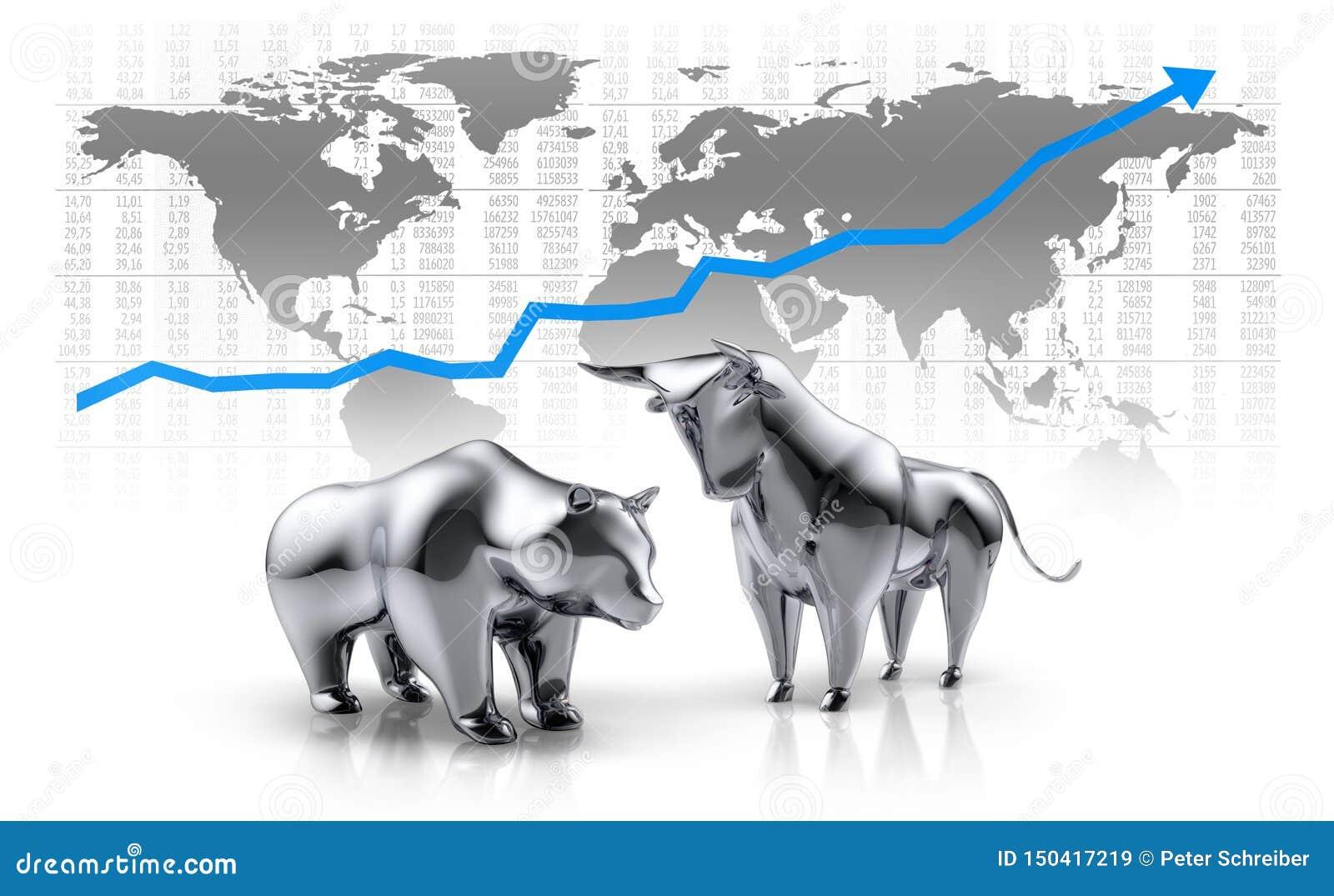 Silver shiny bull and bear - concept stock market