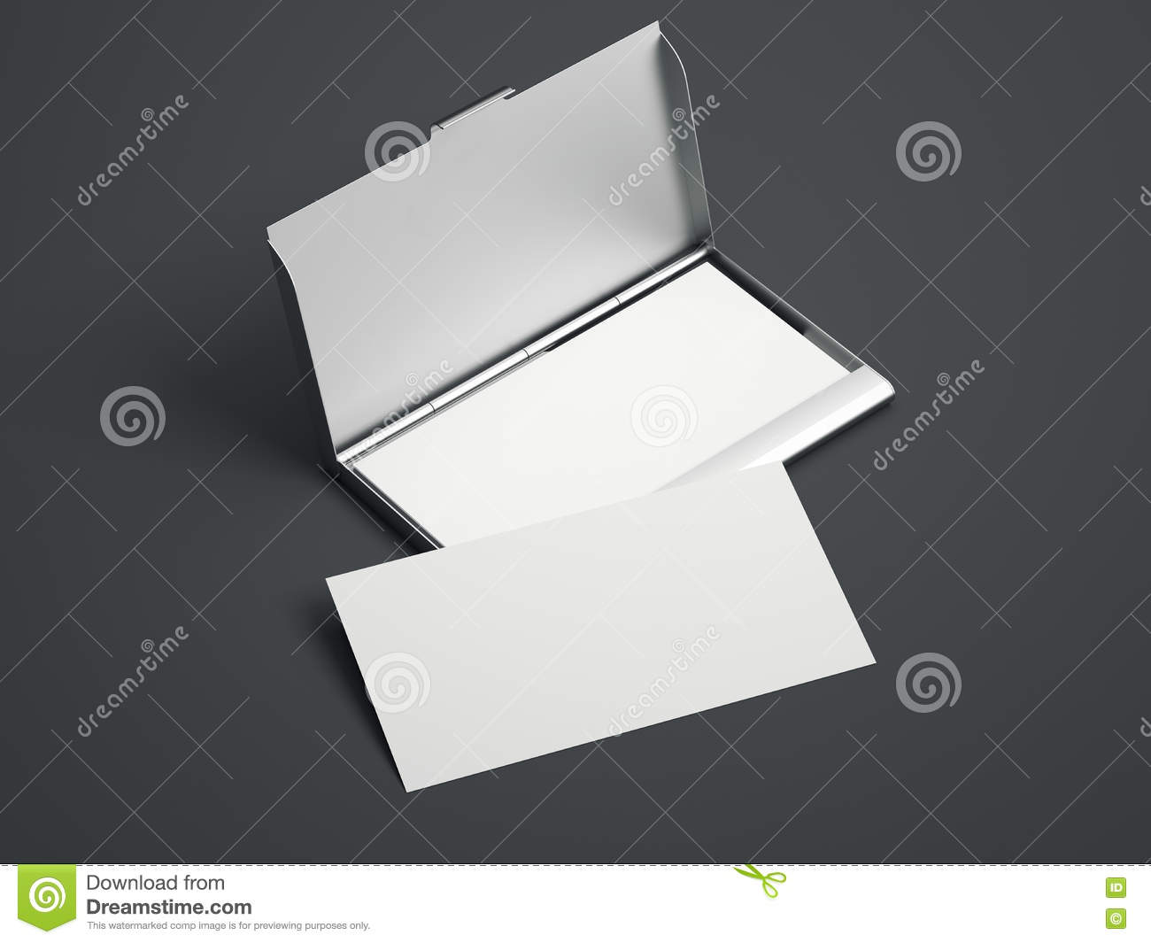 Silver case with white blank business cards. 3d rendering