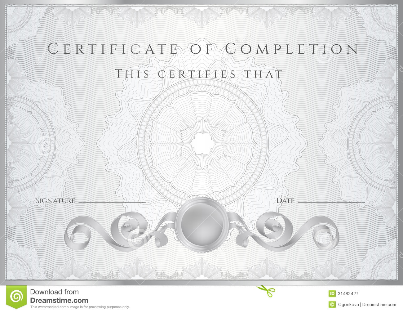 Silver Certificate Diploma Background template Royalty Free