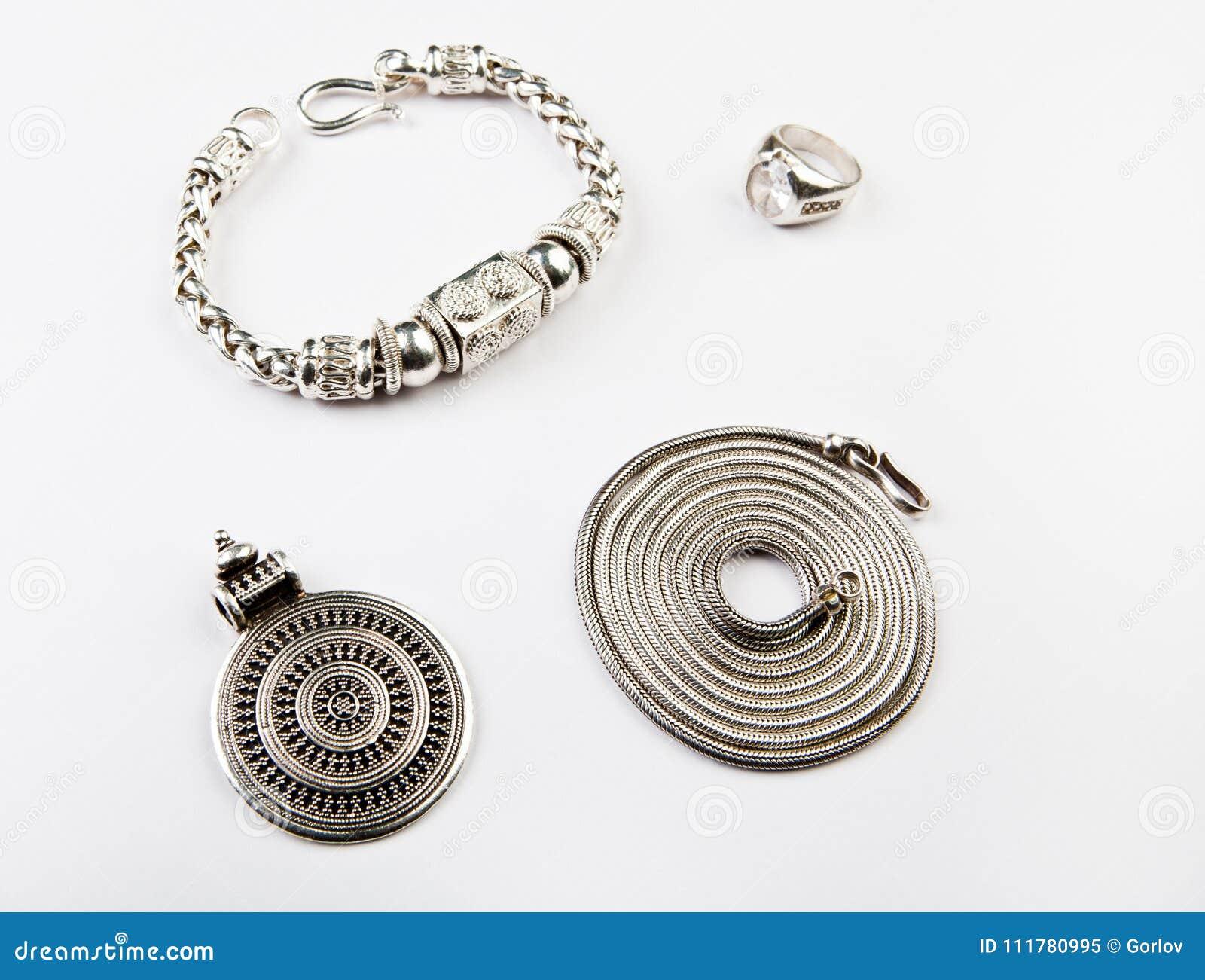 Silver chain Mandala ring bracelet