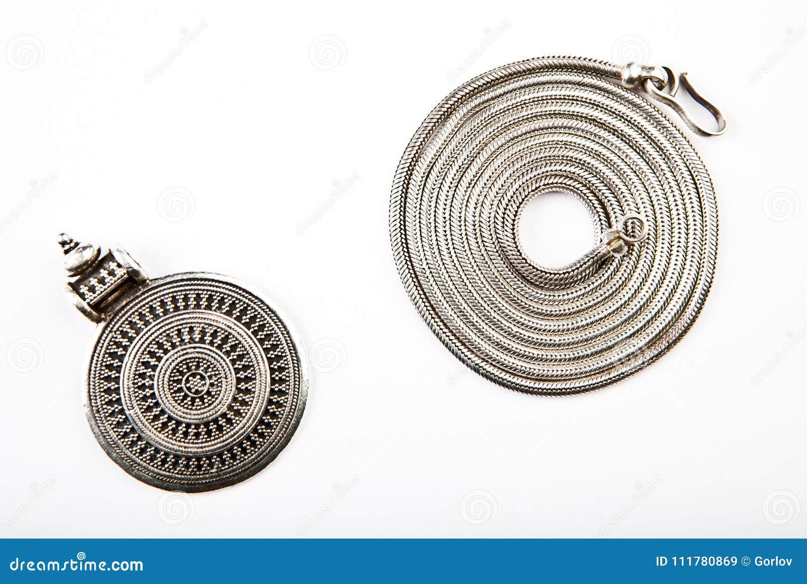 Silver chain Mandala Symbol white background