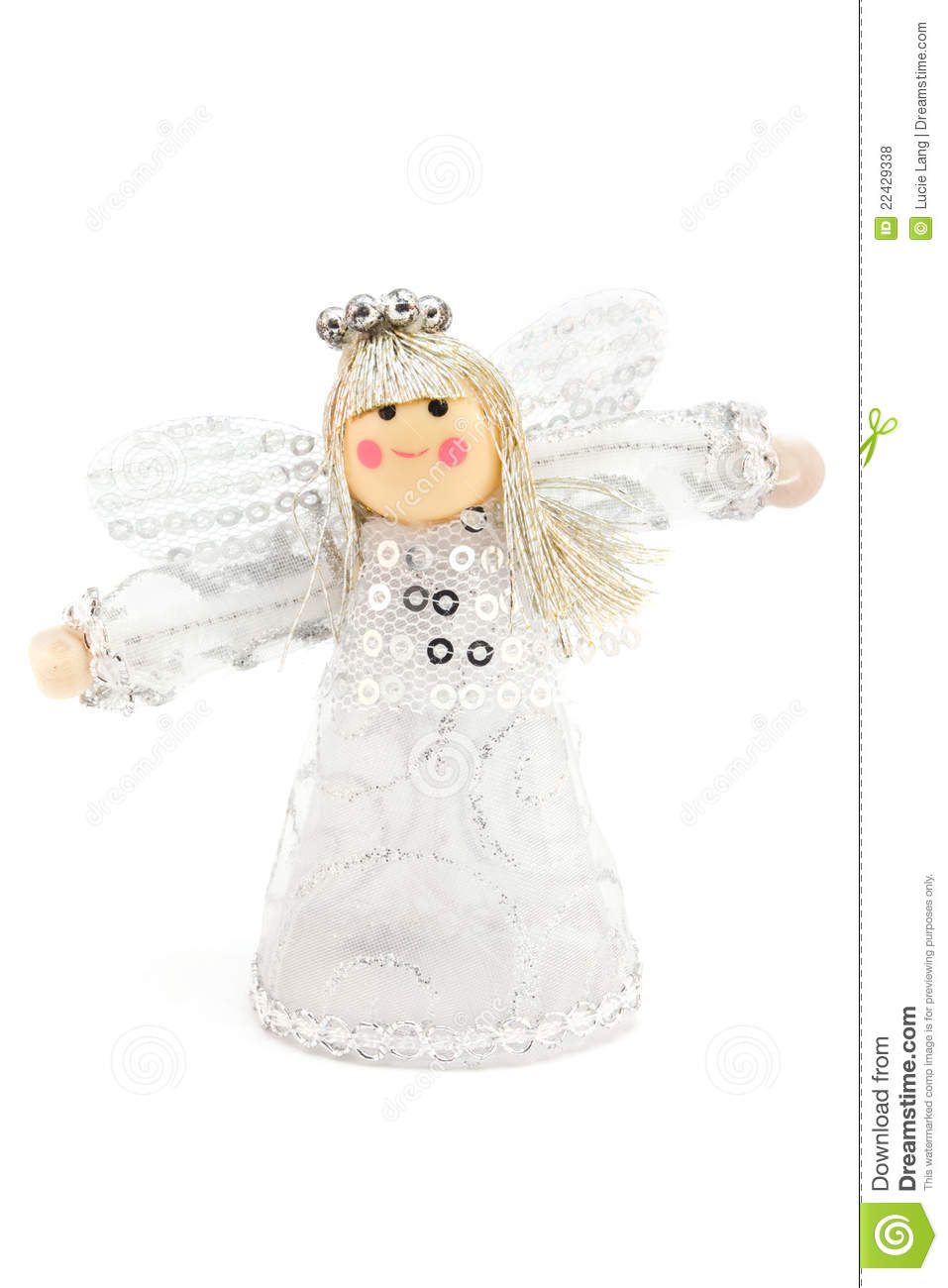 Silver christmas angel decoration royalty free stock for Angel decoration