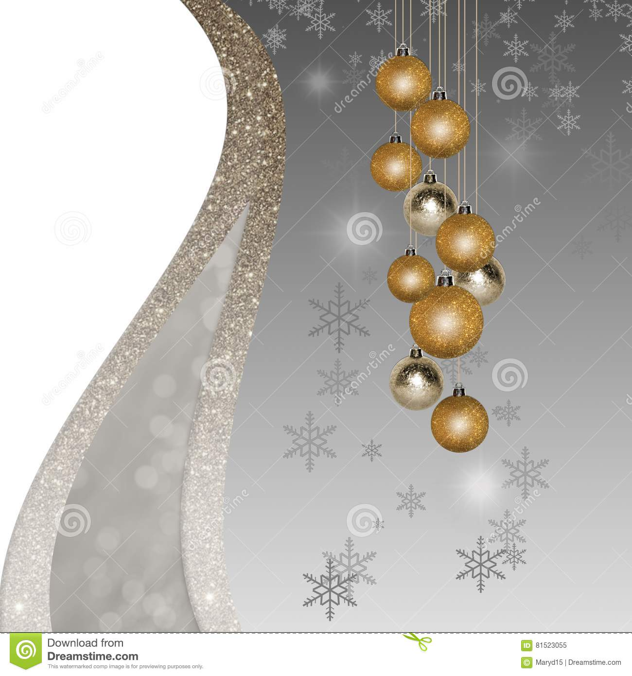 Christmas Background With Glitter Golden Silver Ornaments Stock