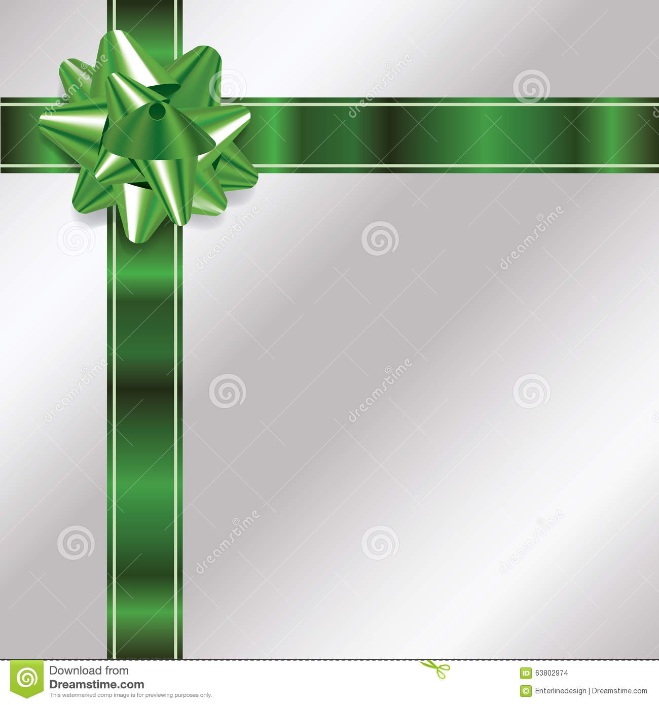 Silver Christmas Background With Green Bow And Ribbon ...