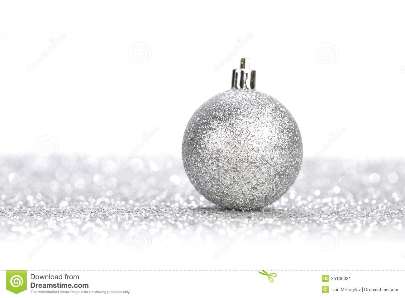 Silver christmas ball stock image of sphere