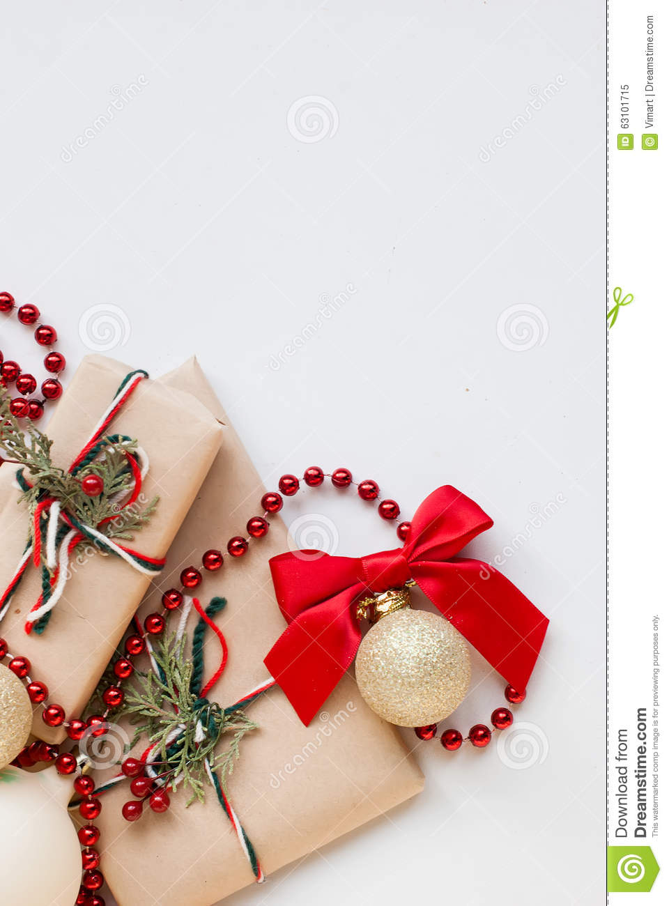 Silver christmas balls and gifts on wooden table stock - Table gifts for christmas ...