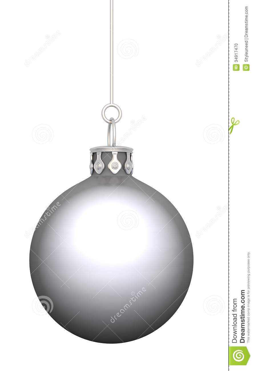 Silver christmas bauble stock photo image 34917470 for White christmas baubles