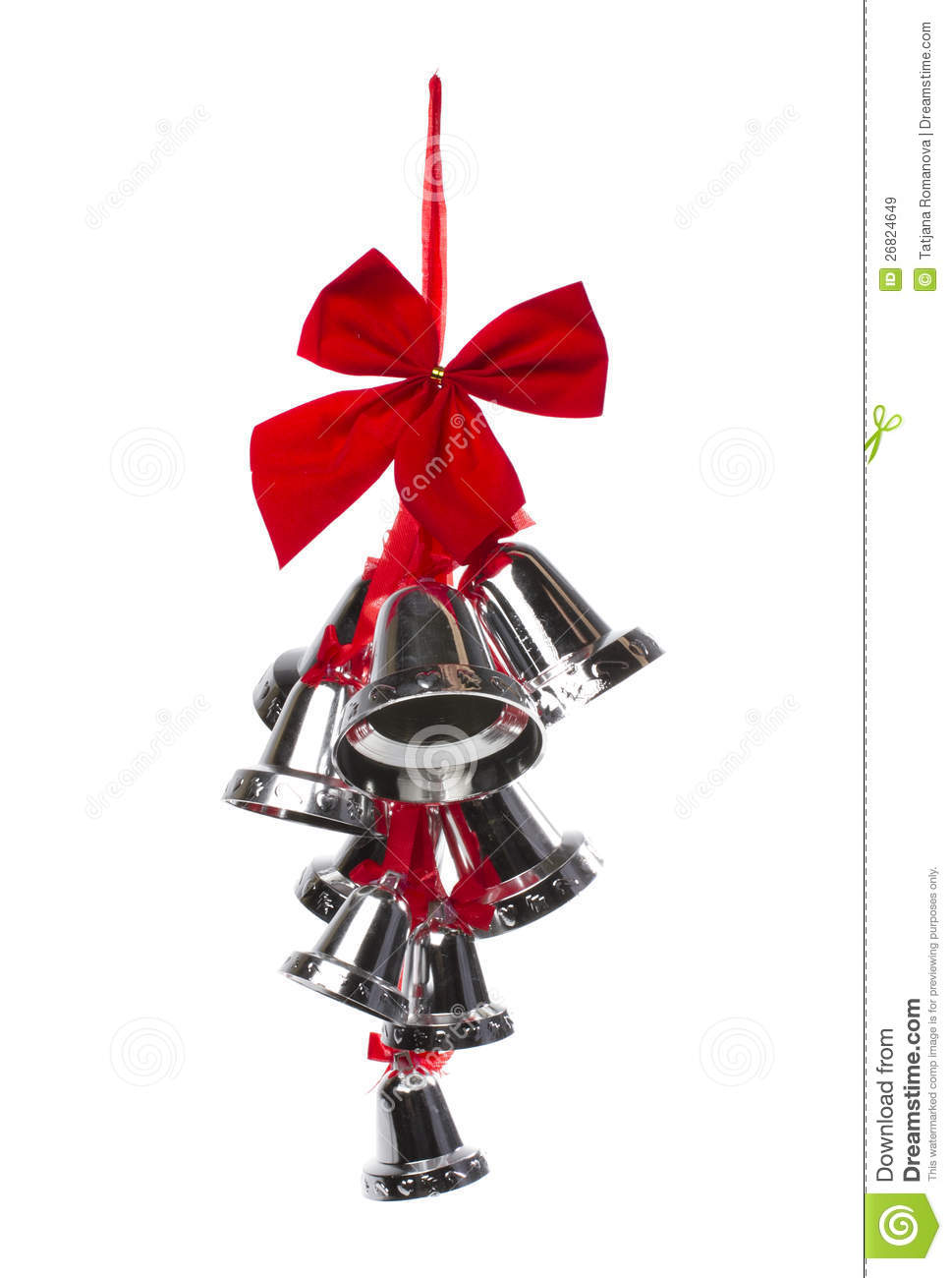 Silver christmas bells and red bow royalty free stock