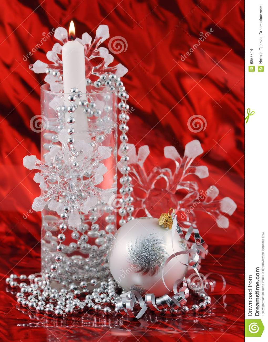silver christmas decoration on red background