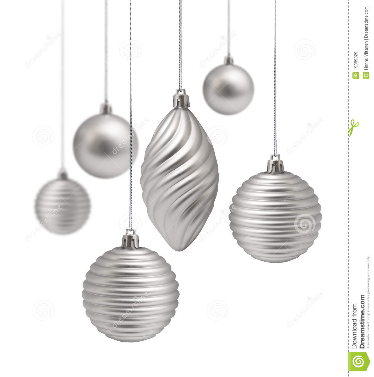 White Silver Ornament Silvers: Silver Christmas Decoration Set Stock Image