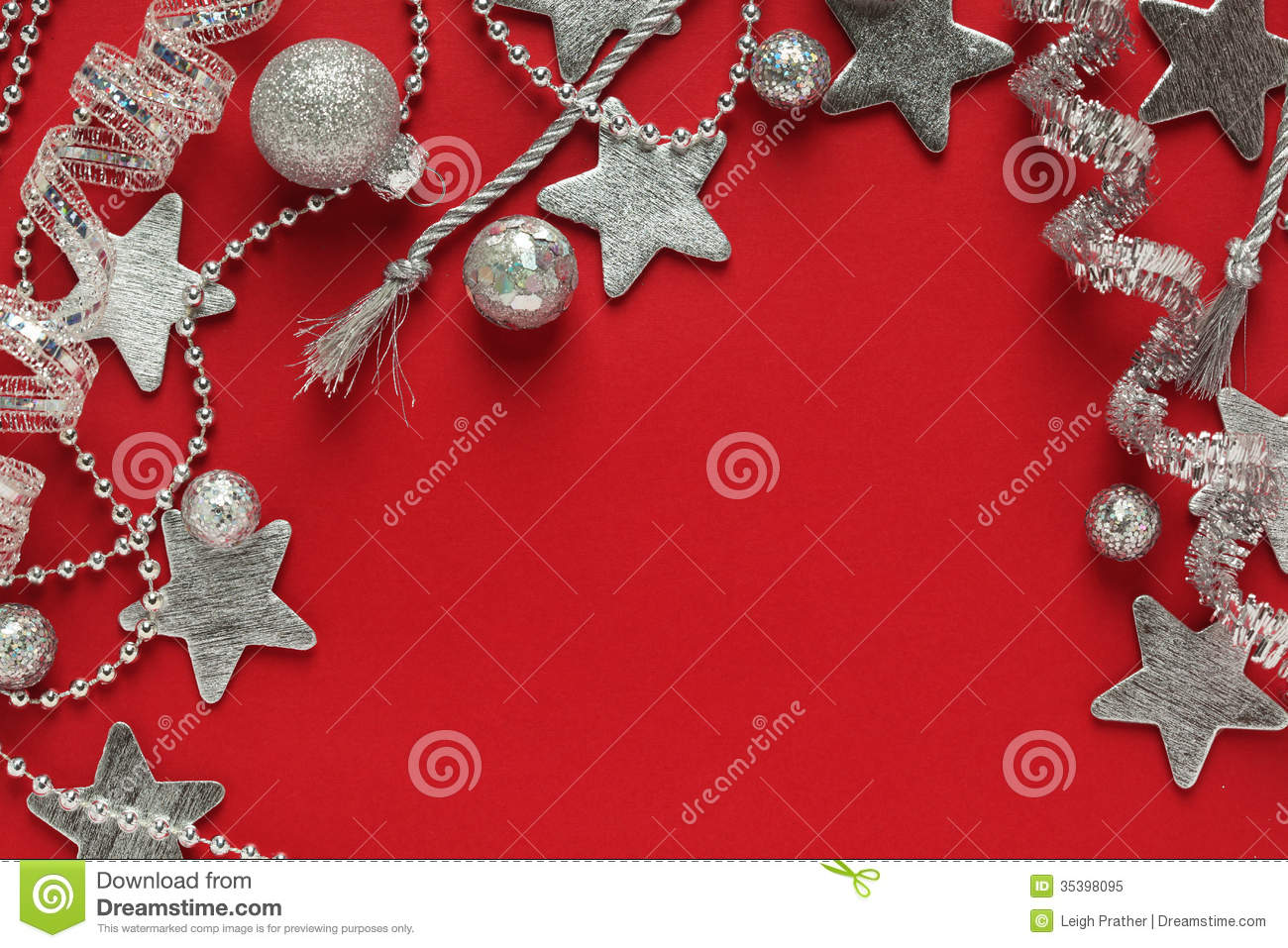 Silver christmas decorations background royalty free stock for Red and silver christmas decorations