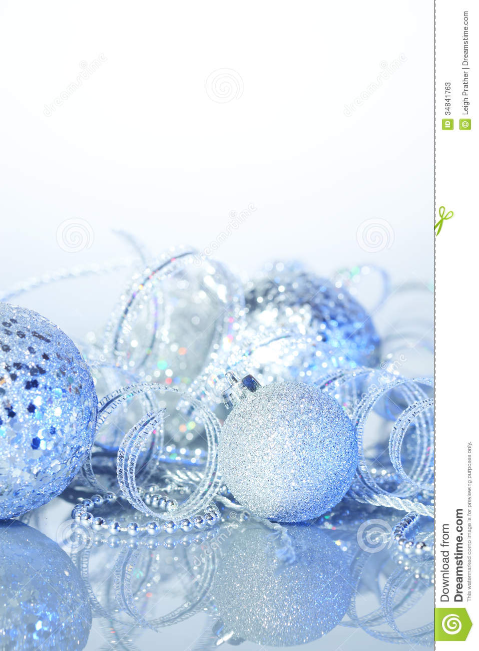 Blue And Silver Decoration Living Room: Silver Christmas Decorations Stock Image