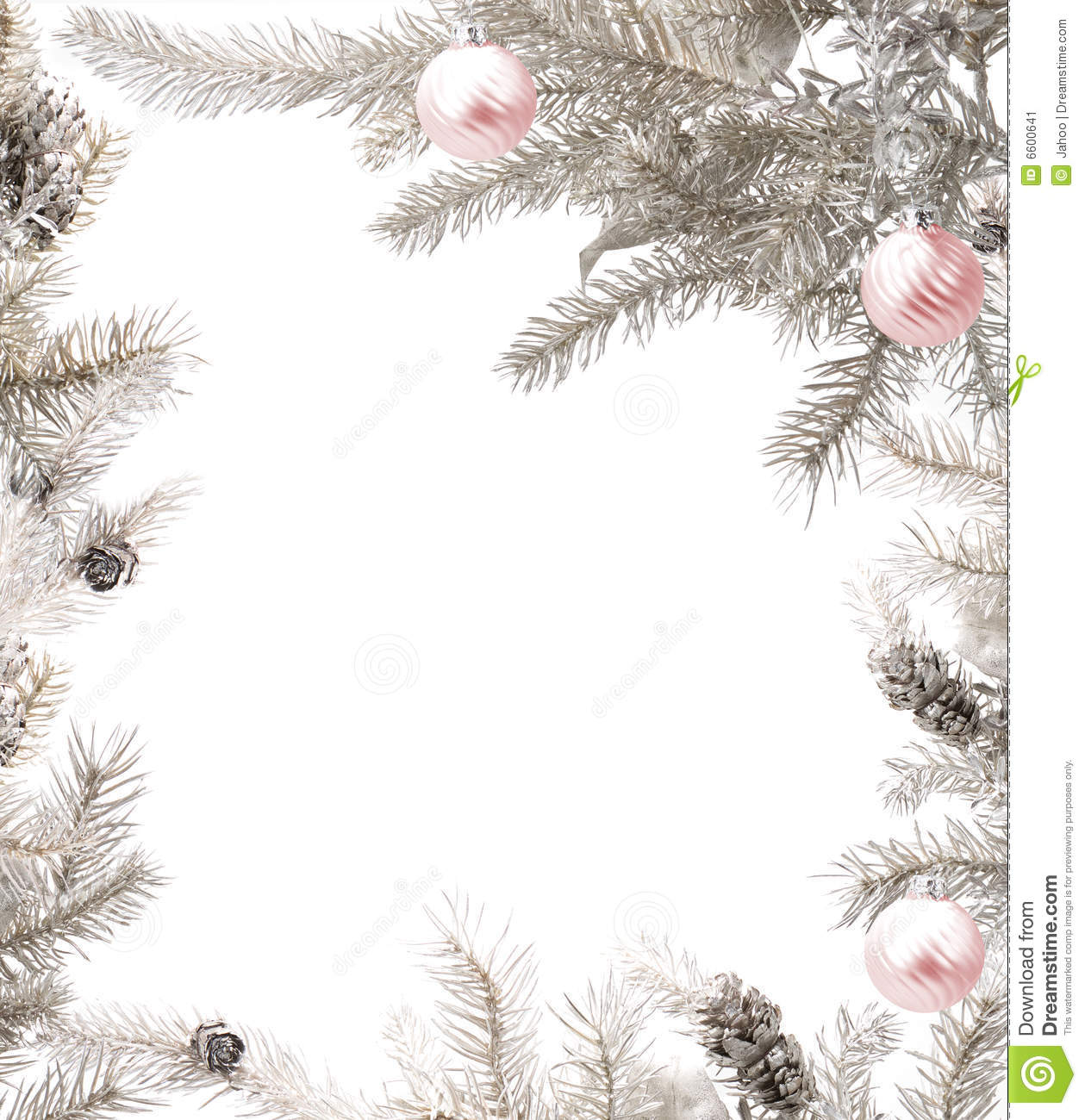 Christmas Frame.Silver Christmas Frame With Pink Baubles Stock Image Image