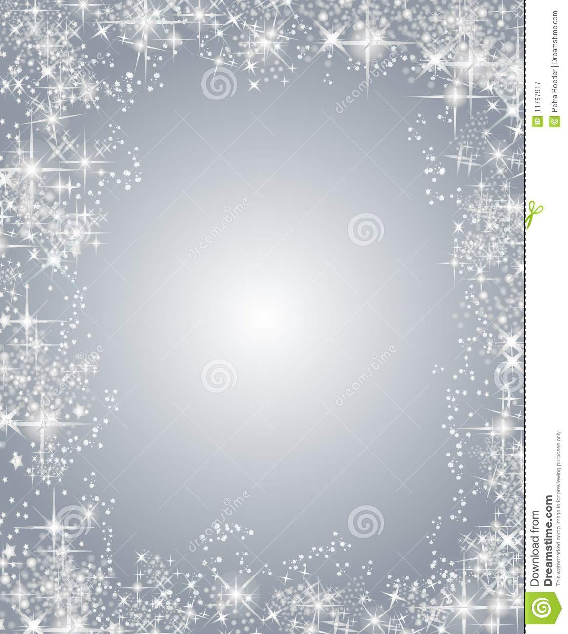 Silver christmas frame with stars stock illustration