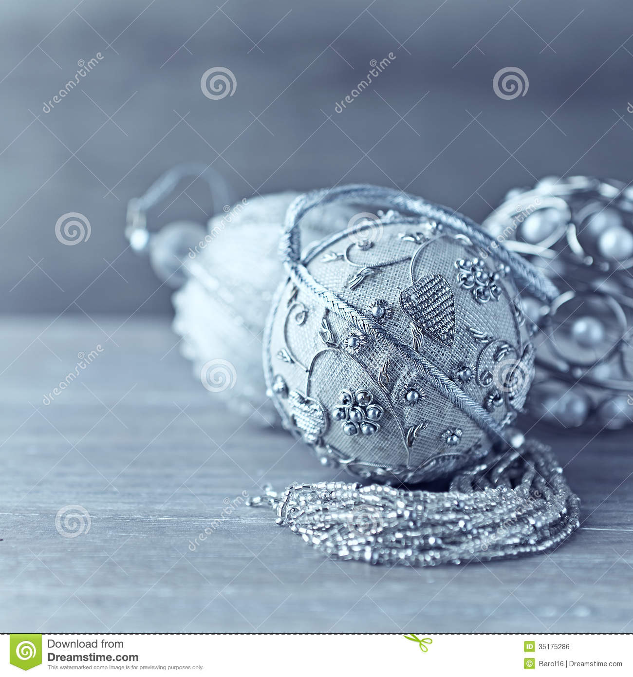 Silver Christmas Ornaments On Wooden Background Royalty Free Stock ...
