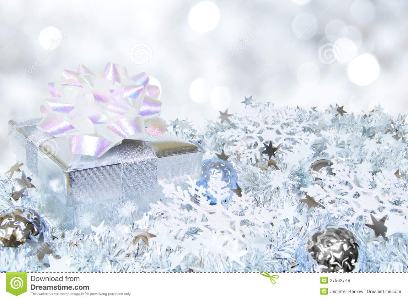 Silver Christmas Scene Royalty Free Stock Photos Image